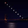 Super Blue Blood Moon Eclipse Progression over the Golden Gate